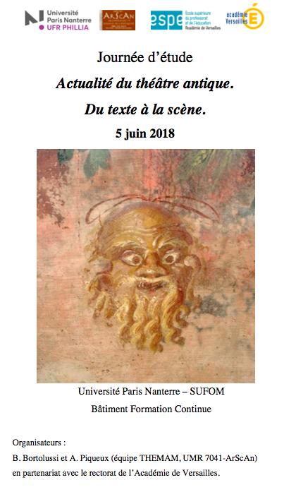 Affiche journée étude théâtre antique